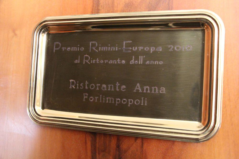 Premio Rimini Europa Ristorante dell'Anno | Ristorante Anna - Forlimpopoli